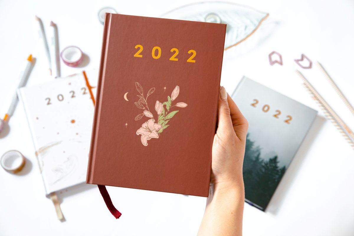 Planer książkowy 2022 vintage w ręce