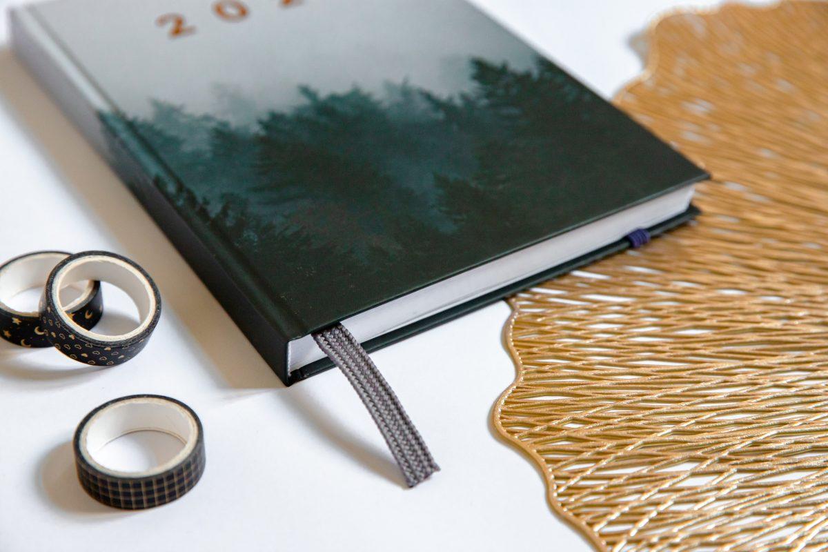 Planer książkowy zakładka tasiemka 2022 dark forest